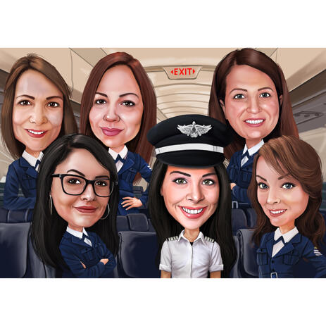 Pilots Group Caricature from Photos in Colored Style - example