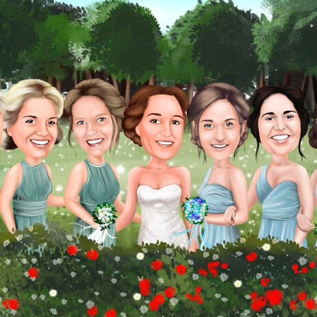 Bridesmaids Caricature from Photo in Colored Digital Style with Custom Background - example