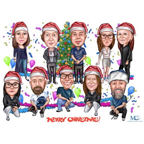 Christmas Office Employees Caricature Card for Company - example