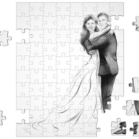 Just Married Caricature Printed on Puzzle - example