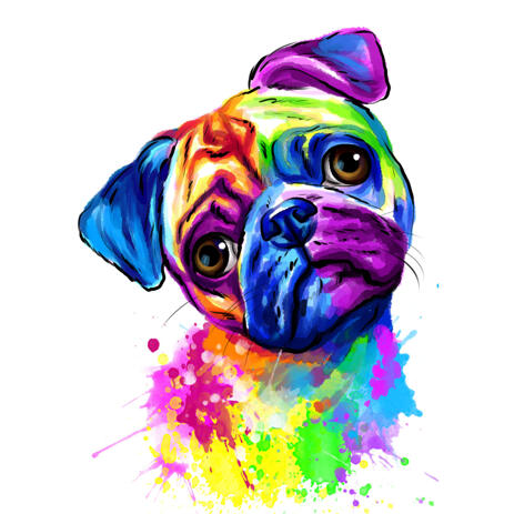 Watercolor Pug Portrait from Photos Rainbow Style - example