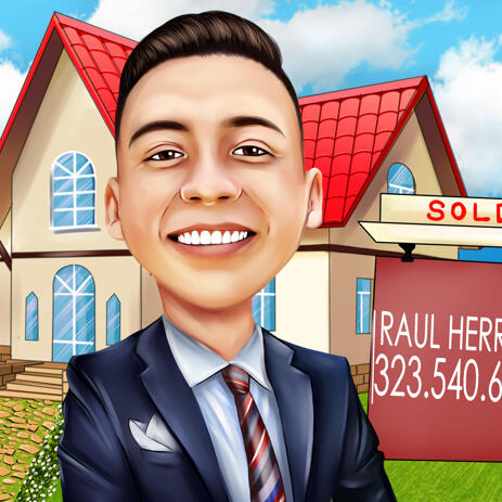 Realtor Caricature from Photos Digital Style with House Background - example