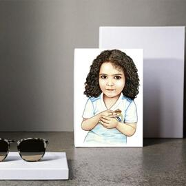 Kid Caricature Drawing Printed as Canvas