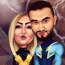 Custom Creation of Couple as Superheroes Drawn from Photos in Colored Digital Style