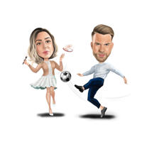 Full Body Couple Caricature from Photos Featuring Custom Hobbies and Interests