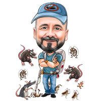 Persona con caricatura di cartone animato dispositivo di uccisione di ratti per avatar logo personalizzato