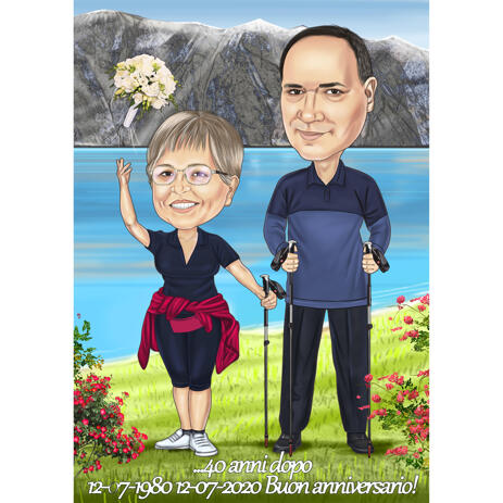 Anniversary Couple Caricature from Photos: Hobbies - example