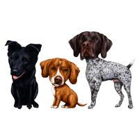 3 blandet hunderace karikatur i fuld krop farvet type fra fotos