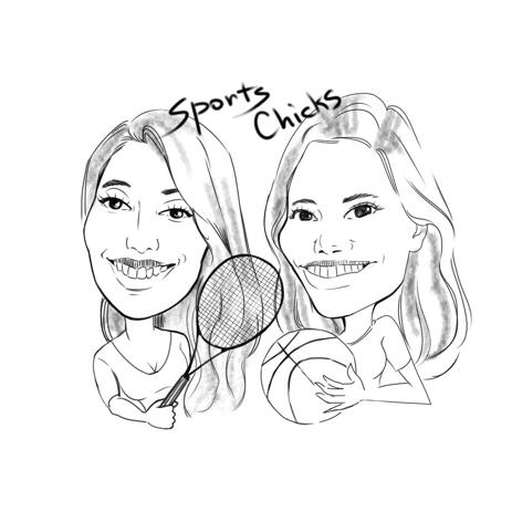 Two Persons Sport Caricature in Cartoon Outline Style from Photos - example