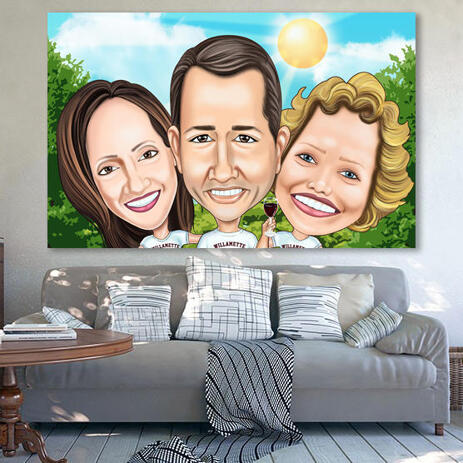 Three Persons Exaggerated Style Caricature from Photos Printed on Canvas - example