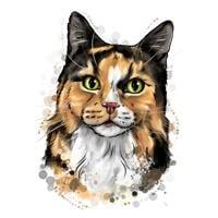 Tegnet tegning af din kat i naturlig vandfarvning fra fotos