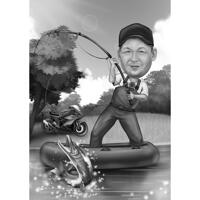 Full Body Fisherman Caricature in Black and White Style with Custom Background