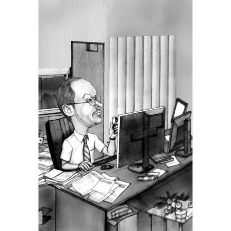 Computer Outsider Caricature in Black and White Pencil Style for Custom Computer Expert Trader Gift - example
