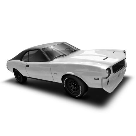Hand Drawn Car Caricature Art in Black and White Style from Your Photo - example