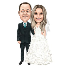 Full Body Wedding Couple Caricature Drawing in Colored Style