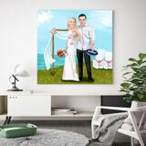 Printed Bride and Groom Caricature on Canvas