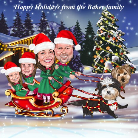 Christmas Family Caricature Card - Santa's Sleigh with Pets - example