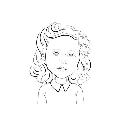 Kid Caricature Cartoon Drawing from Photo in Black and White Outline - example