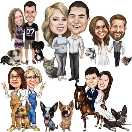 Full Body Couple Caricature with Pet from Photos in Colored Style - example