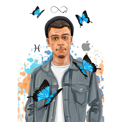 Person in Colored Style Custom Portrait Drawing from Photo with Butterfly Background - example