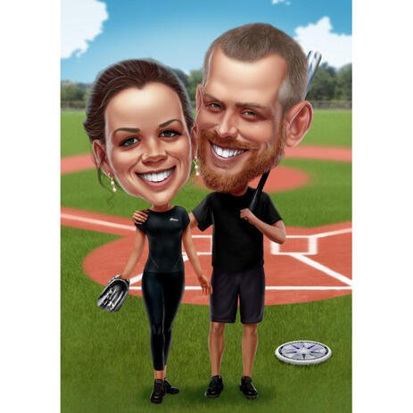 Baseball Couple Caricature from Photos for Baseball Fans - example