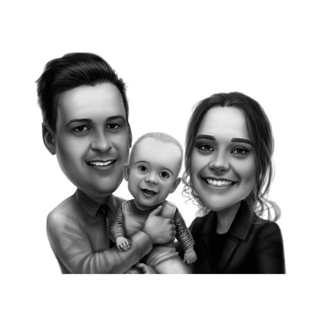 Family with Baby Black and White Style Cartoon Portrait Painting - example