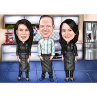 Premium Chef Group Caricature in Full Body Colored Style with Custom Background