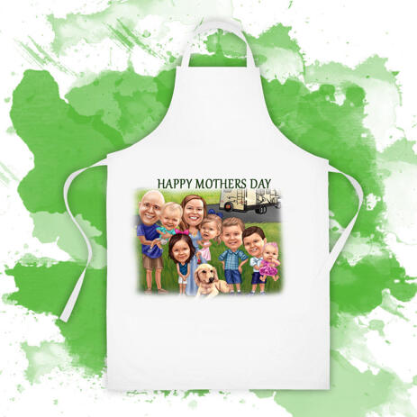 Custom Apron: Digital Family Cartoon Printed on Apron - example