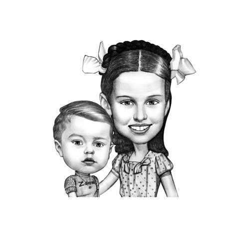 Monochrome Style Brother and Sister Sketch Caricature Hand-Drawn from Photographs - example
