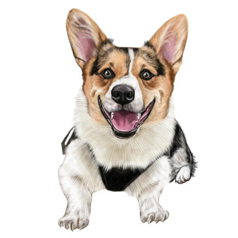 Corgi Cartoon Caricature Gift in Colored Style from Photo for Dog Lovers - example