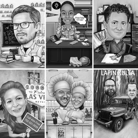 Legrační profese karikatura s vlastní pozadí v černé a bílé - example