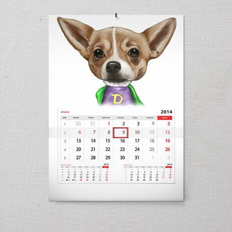 Dog Caricature from Photos Printed as Calendar - example