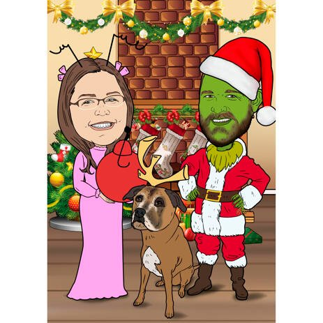 Christmas Caricature of Couple with Dog with Colored Background - example