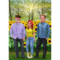Custom Family Portrait from Photos on Nature Background