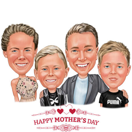 Family Caricature for Mother's Day Gift - example