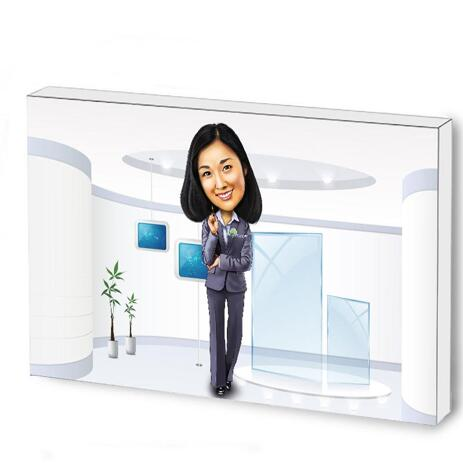 Custom Caricature for Business on Photo Block - example