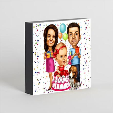 Birthday Family Caricature Printed on Photo Block - example