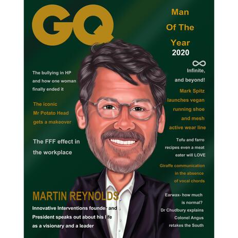 Ritratto di caricatura personalizzato per copertina di una rivista - example