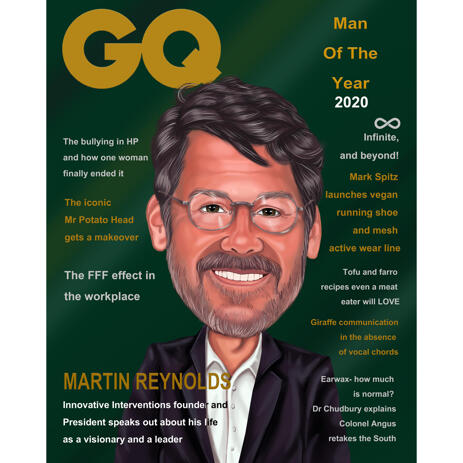 Custom Caricature Portrait for Magazine Cover - example