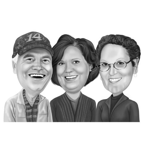 Coworkers Group Caricature in Black and White Style from Photos - example