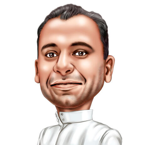 Indian Male Caricature Portrait from Photo in Colored Style - example