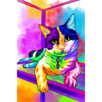 Full Body Cat Portrait in Rainbow Watercolor Style with Background from Photos