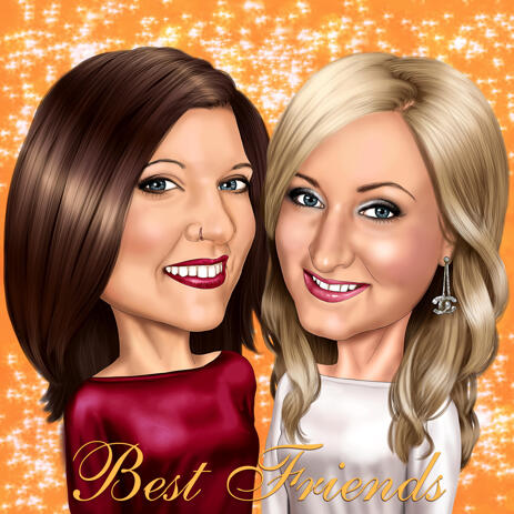 Best Friends Cartoon Portrait from Photos with Single Color Background - example