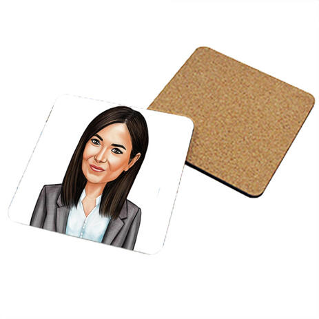Portrait for Business on Photo coasters - example