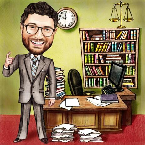 Full Body Work Space Office Caricature from Photo in Pencils Style - example