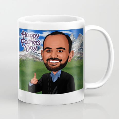 Man Colored Cartoon Caricature with Custom Background on Mug Print for Dad Gift - example