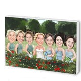 Wedding Group Caricature Printed as Photo Block