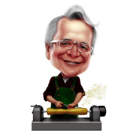 Handyman Worker Caricature on White Background - example