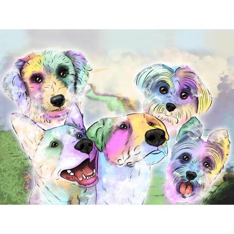 Dibujo de retrato de perros en acuarela en tono pastel con fondo personalizado - example