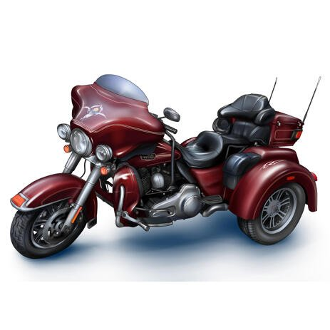 Custom Harley-Davidson Motorcycle Cartoon Drawing in Colored Style from Photos - example